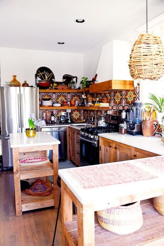 35 Colorful Boho Chic Kitchen Ideas to Decorate Your Room ...