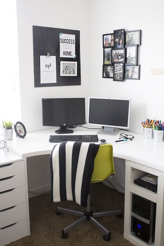 black and white home office, home office ideas, home office design, chic home office