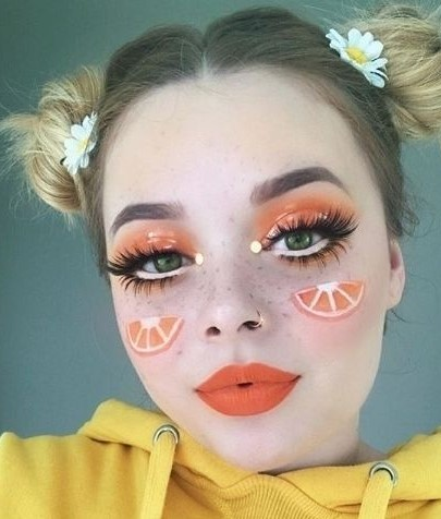 Fresh Fruit Makeup You Need to Try When Taking Pictures makeup, colorful makeup , fruit, fruit makeup