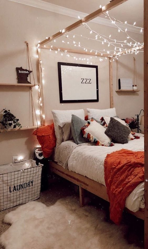 35 Awesome College Bedroom Ideas May Spark You bedroom, pink and white bedroom, bedroom design for students, college bedroom